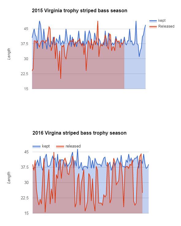 Trophy striper data plots
