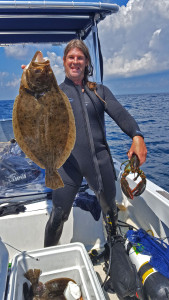 Big flounder and a lobster