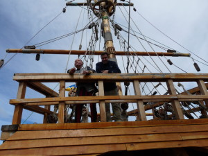 Standing over the stern